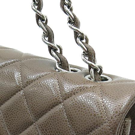 Chanel(샤넬) A28600 캐비어스킨 쵸코브라운 클래식 점보 L사이즈 은장로고 체인 숄더백 [동대문점] 이미지4 - 고이비토 중고명품