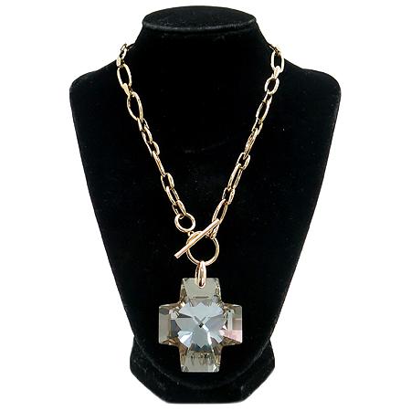 Swarovski(스와로브스키) 십자가 크리스탈 장식 금장 체인 목걸이 이미지2 - 고이비토 중고명품