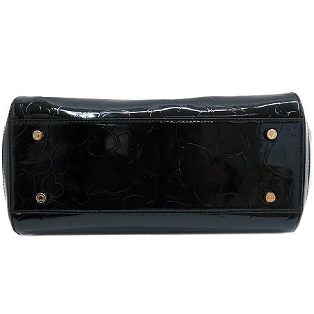 LOVCAT(러브캣) 골드 메탈 로고 장식 블랙 페이던트 레더 체인 숄더백