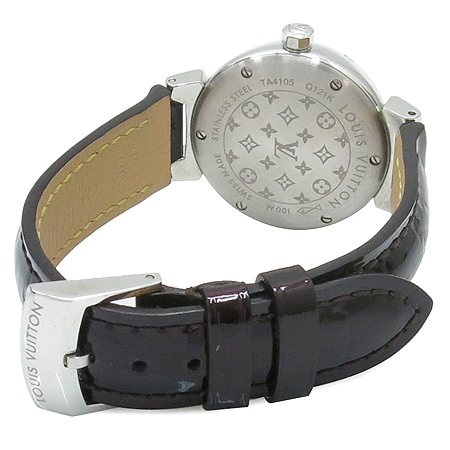 Louis Vuitton(루이비통) Q121K 모노그램 다이얼 땅부르 베르니 가죽 밴드 여성용 쿼츠 시계 이미지5 - 고이비토 중고명품
