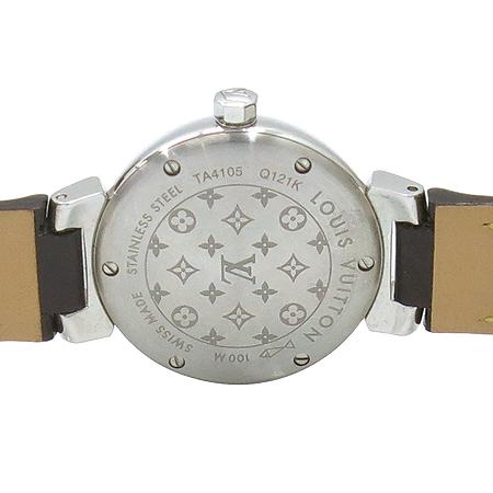 Louis Vuitton(루이비통) Q121K 모노그램 다이얼 땅부르 베르니 가죽 밴드 여성용 쿼츠 시계 이미지6 - 고이비토 중고명품
