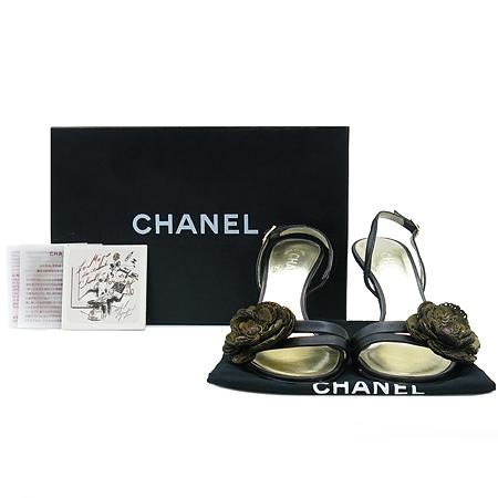 Chanel(샤넬) G25137X01000 까멜리아 빈티지 스팽글 장식 블랙 레더 플랫폼 샌들