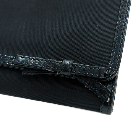Prada(프라다) 삼각로고 패브릭 리본 장식 장지갑