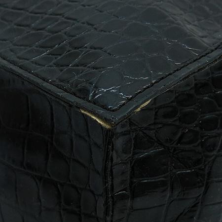 Blumarine(블루마린) 블랙 악어패턴 골드메탈릭 혼방 쇼퍼 토트백
