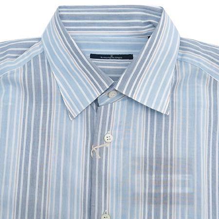 Zegna(제냐) 스카이블루&그레이컬러 스트라이프 패턴 셔츠