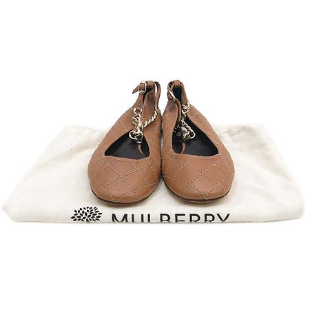 MULBERRY(멀버리) 퀼팅 스티치 브라운 레더 금장 로고 체인 플렛 슈즈