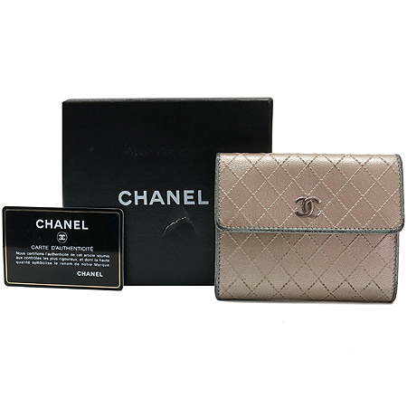 Chanel(샤넬) 은장 COCO 로고 스티치 다용도 반지갑