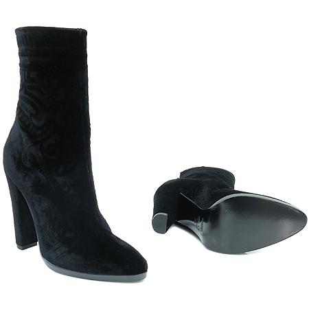 Balmain(발망) 블랙 벨벳 엔틱 로고 집업 여성 부츠