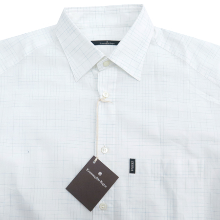 Zegna(제냐) 화이트컬러 블럭 스트라이프패턴 셔츠