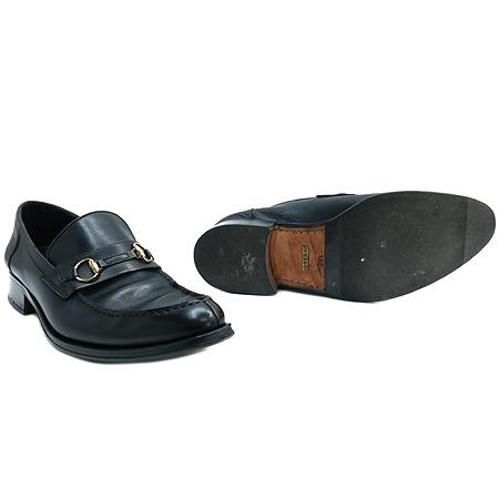 Gucci(구찌) 금장 간치니 장식 블랙 컬러 레더 남성용 로퍼