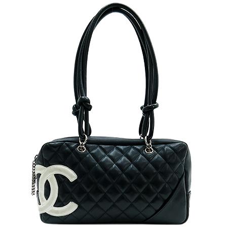 Chanel(샤넬) A50492 블랙래더 깜봉 화이트 COCO로고 스티치 볼링 숄더백