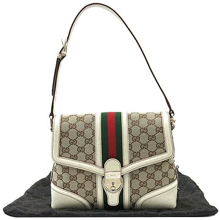Gucci(구찌) 145999 GG 로고 자가드 아이보리 컬러 래더 트리밍 삼색 스티치 숄더백