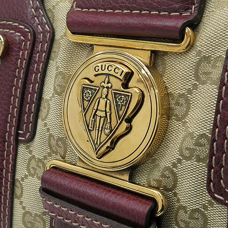 Gucci(구찌) 186235 GG 로고 자가드 버클 장식  버건디 컬러 래더 트리밍 보스톤 토트백 [인천점]