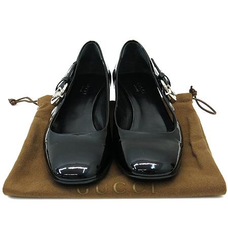 Gucci(구찌) 177121 블랙 페이던트 측면 은장 버클 장식 펌프스 여성용 구두