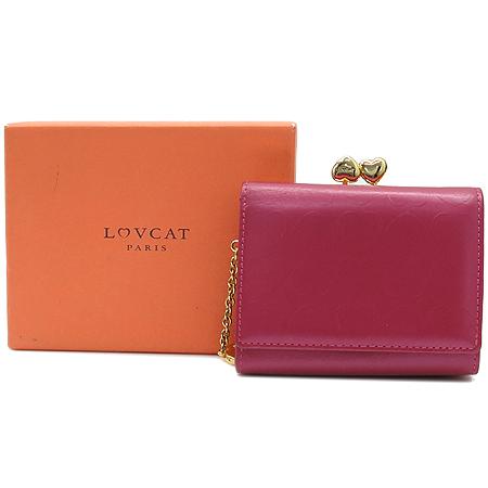 LOVCAT(러브캣) 하트 로고 패턴 3단 반지갑