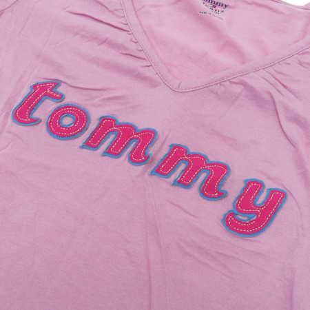 Tommy(타미) 핑크컬러 V넥 티