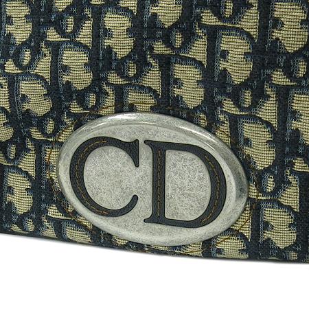 Dior(크리스챤디올) 은장 로고 장식 네이비 레더 혼방 패브릭 토트백