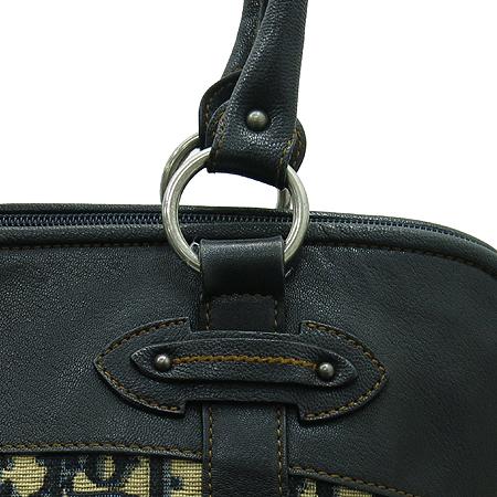 Dior(크리스챤디올) 은장 로고 장식 네이비 레더 혼방 패브릭 토트백 이미지5 - 고이비토 중고명품