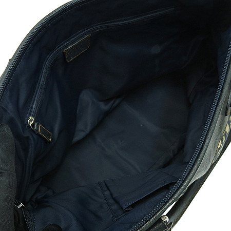 Dior(크리스챤디올) 은장 로고 장식 네이비 레더 혼방 패브릭 토트백 이미지7 - 고이비토 중고명품