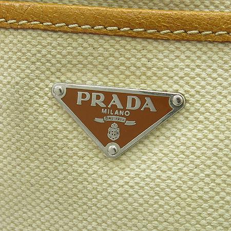 Prada(프라다) BR2920 삼각 로고 베이지 패브릭 브라운 레더 트리밍 숄더백