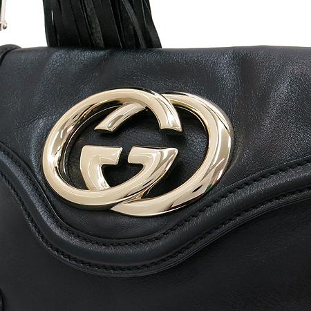 Gucci(구찌) 167733 블랙 레더 GG 로고 술장식 호보 미니 숄더백