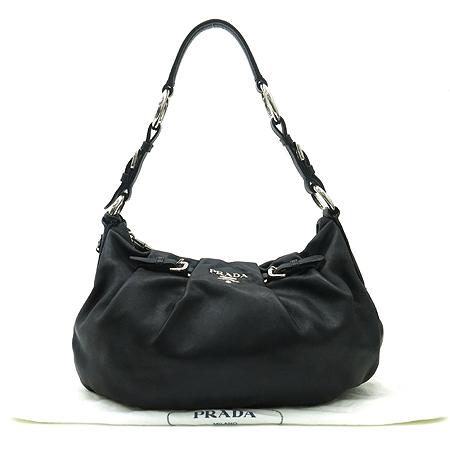 Prada(프라다) BR3795 은장 로고 장식 블랙 래더 숄더백