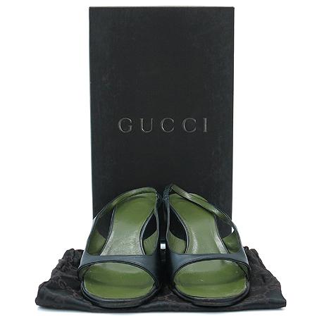Gucci(구찌) 블랙&그린 레더 여성용 샌들 구두