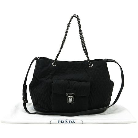 Prada(프라다) 패브릭 퀼팅 원포켓 은장 체인 2WAY