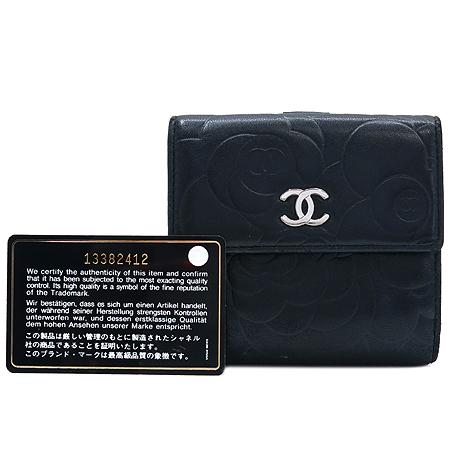 Chanel(샤넬) 은장 로고 장식 까멜리아 버터플라이 반지갑