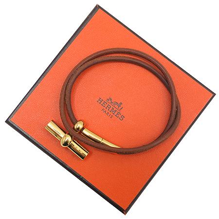 Hermes(에르메스) 금장 가죽 트리밍 팔찌