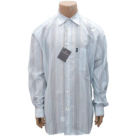 Zegna(제냐) 스카이블루,그레이 투톤 컬러 스트라이프 패턴 셔츠