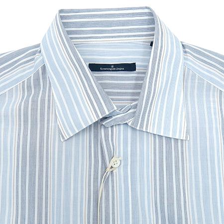 Zegna(제냐) 스카이블루,그레이 투톤 컬러 스트라이프 패턴 셔츠 이미지2 - 고이비토 중고명품