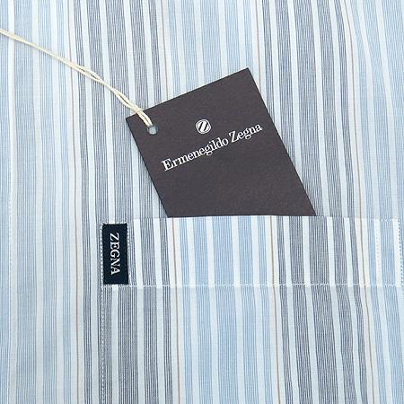 Zegna(제냐) 스카이블루,그레이 투톤 컬러 스트라이프 패턴 셔츠 이미지3 - 고이비토 중고명품