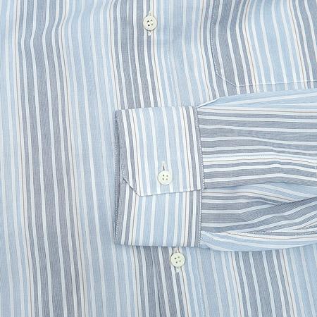 Zegna(제냐) 스카이블루,그레이 투톤 컬러 스트라이프 패턴 셔츠 이미지4 - 고이비토 중고명품