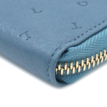 LOVCAT(러브캣) 금장 로고 장식 짚업 중지갑