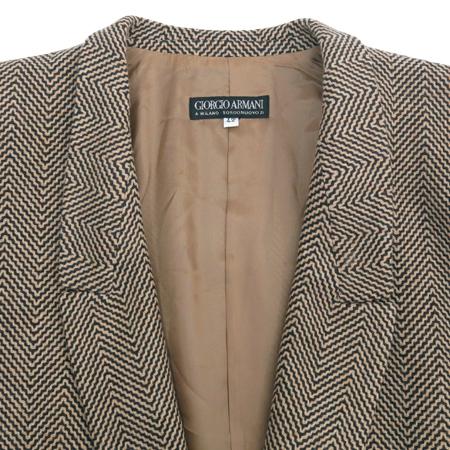 GIORGIO ARMANI(조르지오 아르마니) 브라운 컬러 캐시미어 혼방 헤링본 자켓