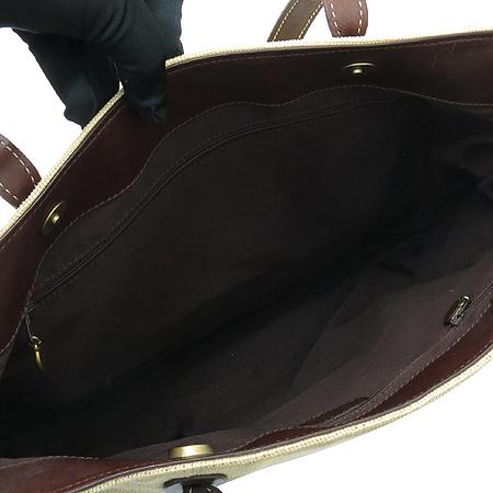 Chanel(샤넬) 스티치 COCO 로고 캔버스 브라운 레더 쇼퍼 숄더백 이미지6 - 고이비토 중고명품
