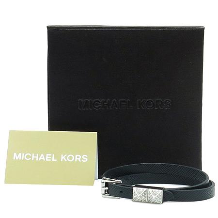 MICHAELKORS(마이클 코어스) 은장 큐빅 장식 블랙 사피아노 레더 팔찌