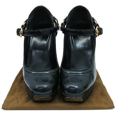 Gucci(구찌) 186080 블랙레더 슬링백 펌프스 가보시 여성용 구두