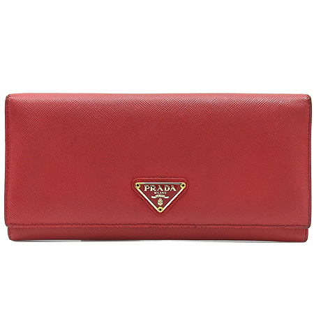 Prada(프라다) 1M1132 금장 로고 장식 레드 사피아노  장지갑