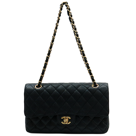 Chanel(샤넬) A0112Y01864 캐비어스킨 클래식 M 사이즈 금장 체인 숄더백