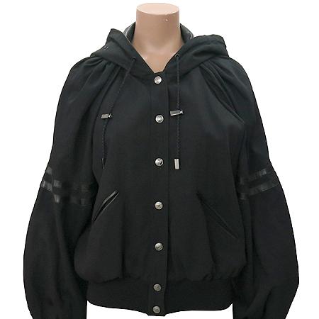 Dior(크리스챤디올) 블랙컬러 양가죽혼방 후드 자켓(배색:실크100)
