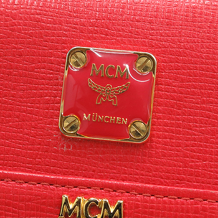 MCM(엠씨엠) MYM1SLL03RE001 금장 로고 장식 중지갑