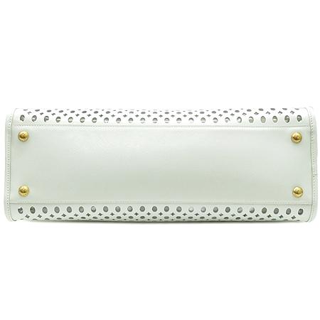 Prada(프라다) BN2294 SAFFIANO VERNIC BLANCO 사피아노 베르닉 화이트 퍼포 금장로고 토트백 + 보조파우치