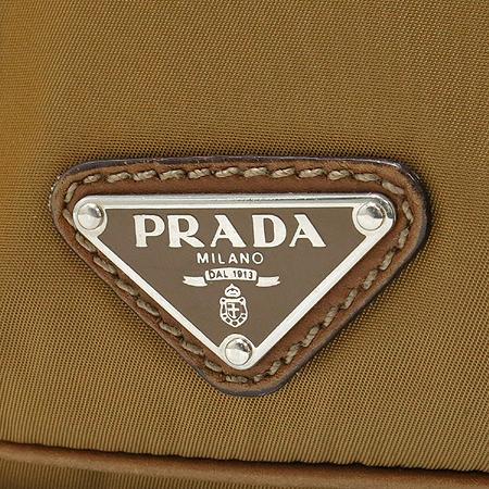Prada(프라다) 은장 벨트 장식 브라운 레더 패브릭 숄더백 이미지4 - 고이비토 중고명품