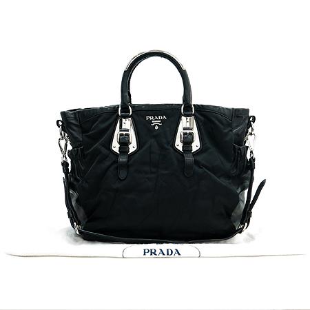 Prada(프라다) 블랙 패브릭 레더 은장 핸들 디테일 2WAY