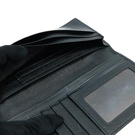 DAKS(닥스) 실버 메탈 로고 PVC 레더 브론즈 스티치 장식 남성 반지갑