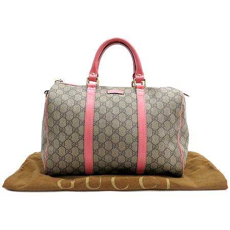 Gucci(구찌) 193603 GG로고 PVC 핑크 트리밍 보스톤 토트백