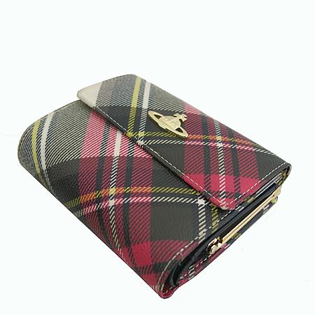 Vivienne_Westwood(비비안웨스트우드) 금장 ORB 로고 타탄 체크 중지갑