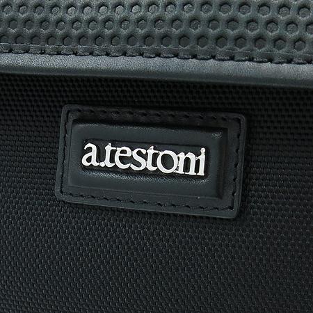 A.testoni(테스토니) 블랙 패브릭 레더 트리밍 클러치 백 [부산본점]